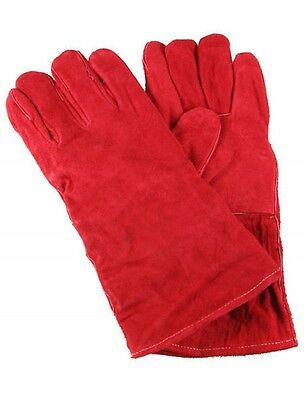 Red Leather Welding Gauntlets / Gloves