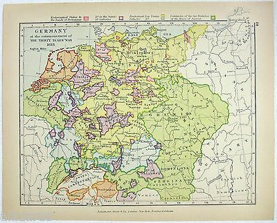 Vintage Map of Germany in 1618 by Longmans Green 1922