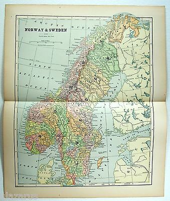 Original 1891 Map of Norway & Sweden by Hunt & Eaton