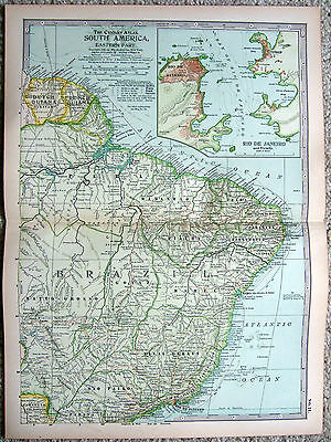 Original 1897 Map of Eastern South America by The Century Company. Brazil
