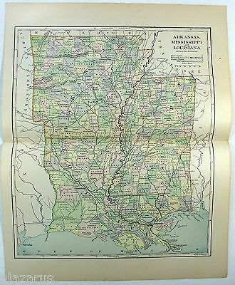 Original 1885 Map of Arkansas, Mississippi and Louisiana by Phillips & Hunt