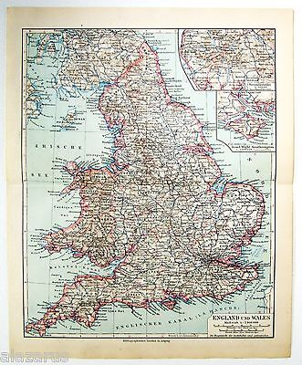 Original 1924 German Map of England & Wales by Meyers