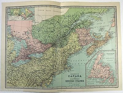 Original 1883 Map of The Dominion of Canada & Northern USA by J. Bartholomew