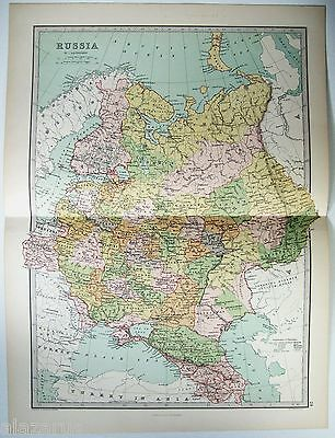 Original 1875 Map of Czarist Russia by J Bartholomew
