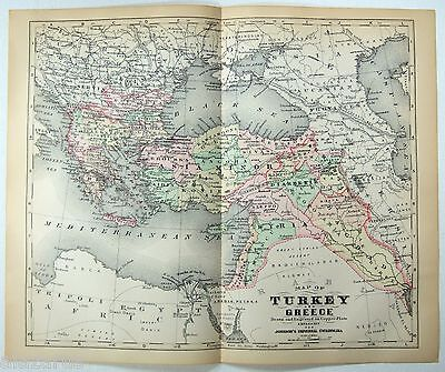 Original 1896 Johnson's Copper-Plate Map of Turkey, Greece, Armenia & Kurdistan