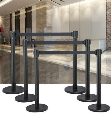 1/2/3 Set X Black Queue Rope Barrier Posts Stand Retractable 2M Belts Stanchions