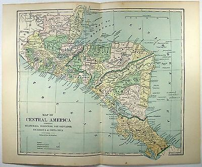 Original 1887 Map of the Central America by Phillips & Hunt