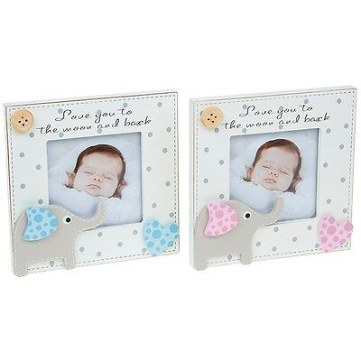 Baby boy girl new baby photo picture frame gift present new wooden elephant