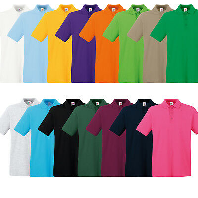 Fruit Of The Loom men's premium short sleeve polo shirt cotton casual top SS255
