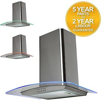 SIA CPE71SS 70cm 3 Colour LED Curved Glass St/Steel Cooker Hood Extractor Fan