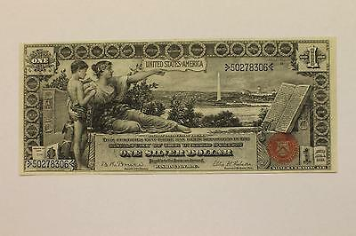 """Fr. 225 1896 $1 One Dollar """"educational"""" Silver Certificate Currency Note"""