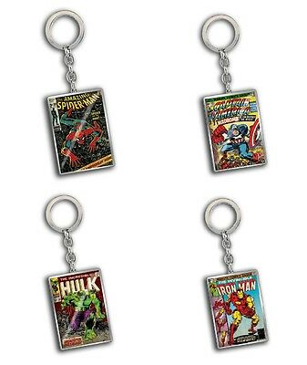 Genuine Marvel Comics Close Up Metal Keyring Fob Hulk Spiderman Captain America