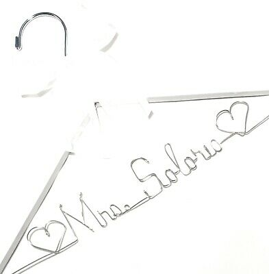 Personalized Bridal Dress Hanger White Hanger silver wire ANY NAME Bride Wedding