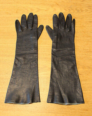 """Vintage Long Black Leather Ladies Evening Gloves Size Small 7.25"""" Made in Italy"""