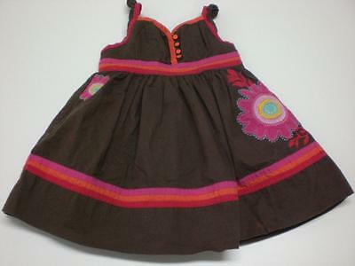 K5047 Girls BABY GAP Brown/Pink/Orange Cotton SUN DRESS Flower 12-18 months