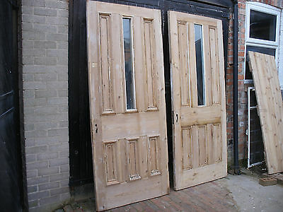 Very large reclaimed Victorian stripped pine 6 panel doors