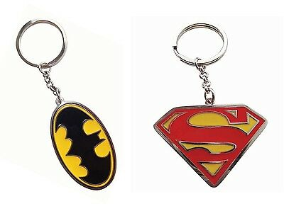 Genuine DC Comics Enamel Logo Metal Keyring Fob Key Ring - Batman / Superman