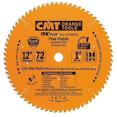 "CMT P12072S 12"" x 72T Carbide Tipped ITK Plus Finish Slider Circular Saw Blade"