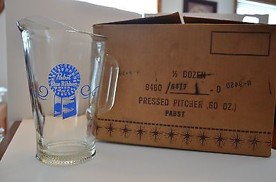 Vintage Pabst Blue Ribbon Beer Pitcher NEW OLD STOCK FROM ORIGINAL CASE