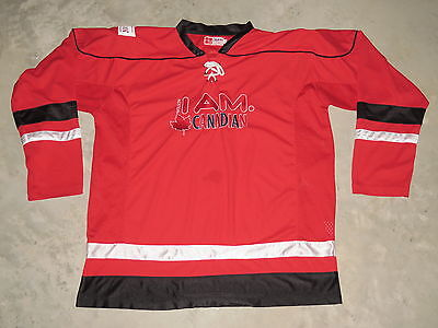 Molson I AM Canadian Beer Maple Logo Sewn Lace Up Hockey Jersey Adult Large Red