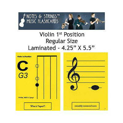 "Notes & Strings Violin 1st Position 4.25"" x 5.5"" Laminated Music Flashcards"