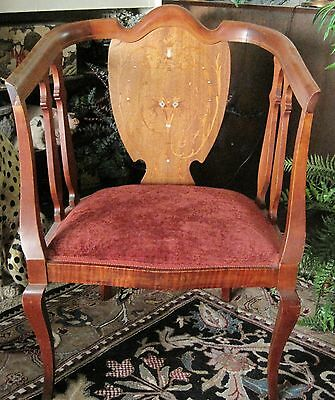 Nice Antique Late 1800s Early 1900s Victorian Chair w/ Inlaid Mother of Pearl