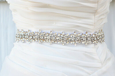 Bridal Crystal, Pearl sash. Rhinestone Applique Wedding Belt vintage sash