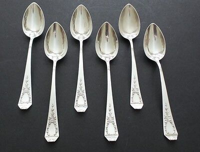 """SET/6 ANTIQUE WHITING """"MADAME JUMEL"""" STERLING SILVER 5 O'CLOCK SPOONS, 125 grams"""