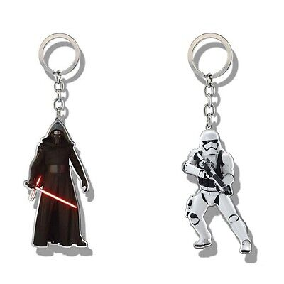 Genuine Star Wars Force Awakens Shaped Metal Keyring Fob Storm Trooper Kylo Ren