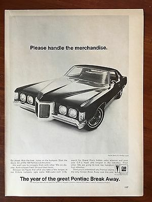 Vintage 1969 Original Print Ad PONTIAC GRAND PRIX HARDTOP COUPE ~Break Away~