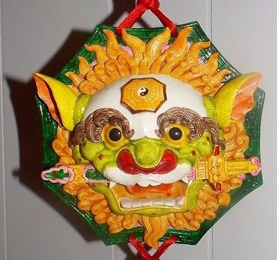 """Beautiful Unique Chinese/japanese/asian 3D """"lion Foo Dog""""wall Mask/plaque! Nice!"""