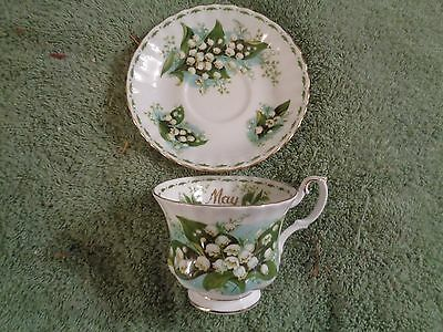 """Royal  Albert cup and saucer bone china Lily of the valley """"MAY"""" gold trim"""