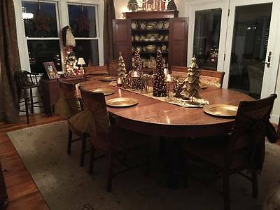 "Antique Large Quarter-Sawn Tiger Oak Claw Foot Dining Table, 5 leaves 60""-120"""
