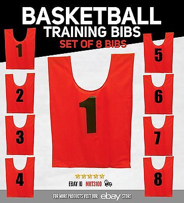 Training Bibs Soccer Rugby Basketball Sports Vests Set of 8 Bibs - Red