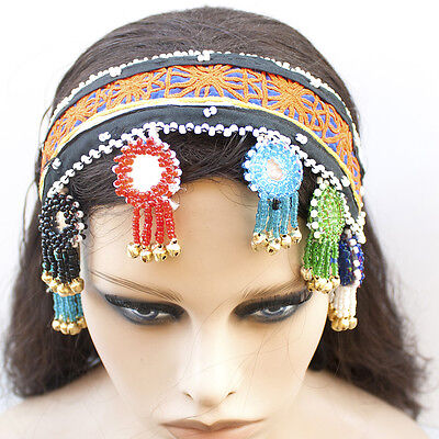 Afghan Tribal Fabric Head Band with Soft Bells Mirrors Colorful Ornaments Gypsy