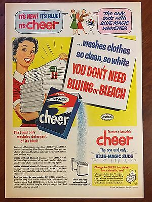 Vintage 1954 Original Print Ad CHEER LAUNDRY DETERGENT ~It's New & Blue~