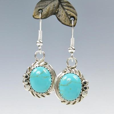 Native American Navajo Delores Cadman Sterling Silver Turquoise Drop Earrings