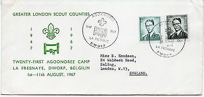 SCOUTS 1967 Gr LONDON 21st AGOONOREE CAMP Belgium Stamps SPEC DWORP PMK RE:PP102