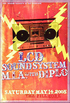 LCD Soundsystem w/ M.I.A. and Diplo 2005 Fillmore SF F690 Poster by Justin Page
