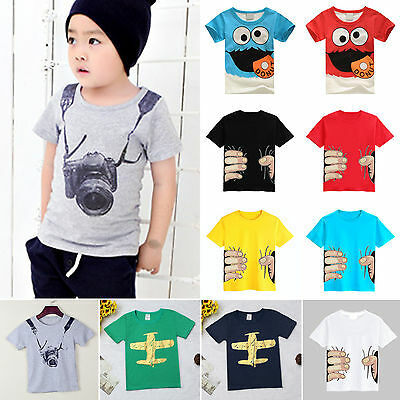 Kids Boys T-shirt Cartoon Printed Cotton Short Sleeve Summer Tops T Shirt Blouse