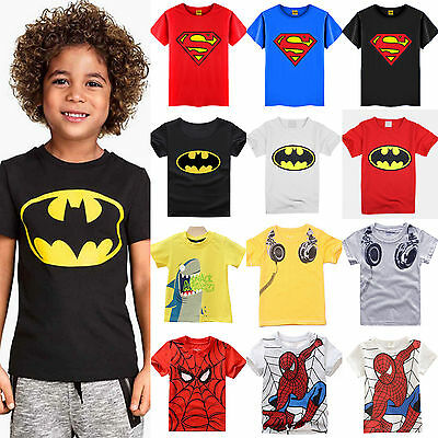 Kids Baby Boys T-shirt Cartoon Batman Short Sleeve Summer Tee Shirts Tops Blouse