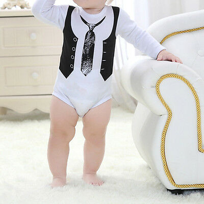 Newborn Toddler Kids Baby Boy Gentleman Jumpsuit Romper Bodysuit Outfits Clothes