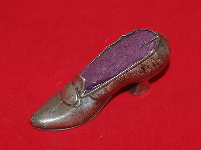 Antique Victorian Sterling Silver + Metal Ladies Boot Shoe Figural Pin Cushion