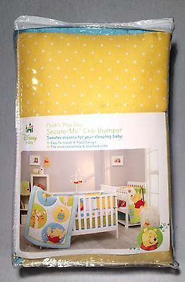 Disney Baby Winnie The Pooh Pooh's Play Day Secure-Me 4-Piece Crib Bumper NEW