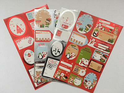 50 100 Xmas Label Sticker Tag Cute Traditional Foil Present Wrapping Child Adult