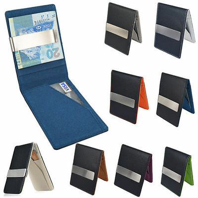 Mens Fashion Leather Silver Money Clip Slim Wallets Black ID Credit Card Holder