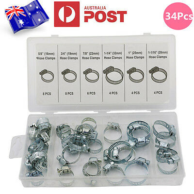 34Pcs 6 Sizes Adjustable Fuel Line Petrol Pipe Hose Clips Stainless Spring Clamp