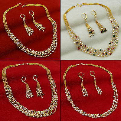 Goldtone Indian Traditional Necklace Set Ethnic Wedding Jewelry BNS8631A-PAR