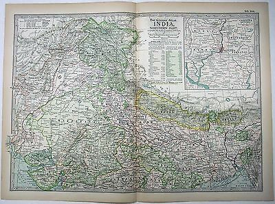 Original 1897 Map of Northern India by The Century Company