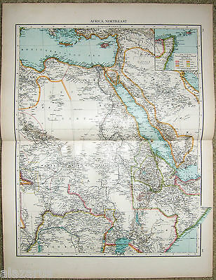 Large Original 1896 Map of Northeast Africa by Velhagen & Klasing.